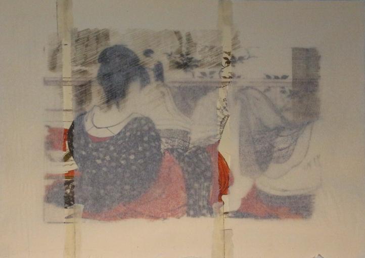 Voyeur, 2017, collage y transferencia sobre papel