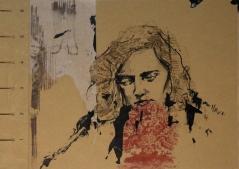 Bleed out, 2017, collage y transferencia sobre carpeta de archivo