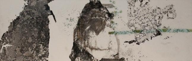 La señora y la sombra, 2017, aguagrasa y transferencia sobre papel