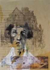 Mujer-casa, 2017, collage, transferencia y tinta sobre carpeta de archivo