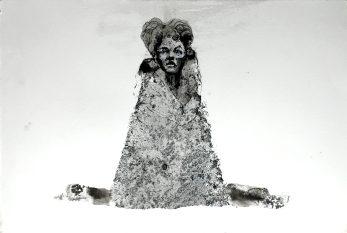 Guardián III, 2016, aguagrasa y tinta sobre papel
