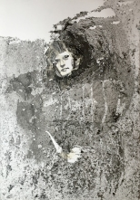 Borrasca, 2016, aguagrasa, tinta y cinta sobre papel
