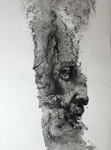 Stone, 2016, aguagrasa y tinta sobre papel